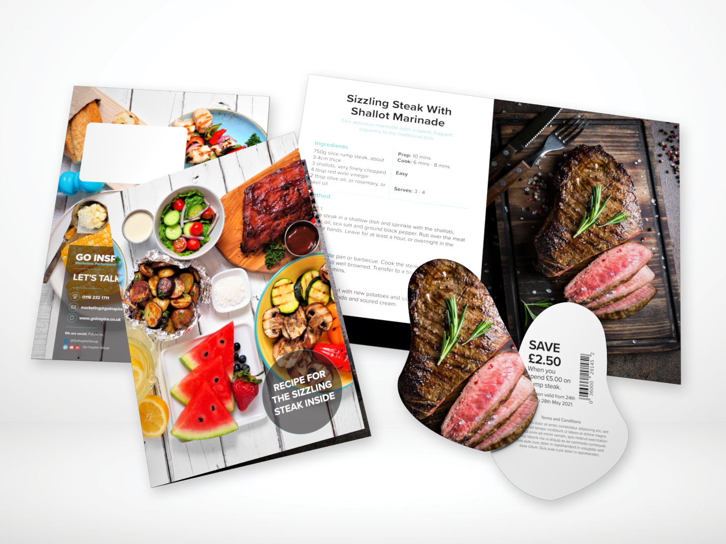 4pp A5 one piece mailer with die-cut steak shaped coupon - CF303